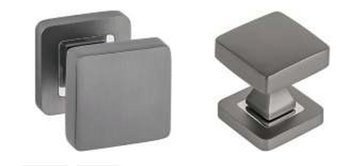35x35 Glass Door  Knob  in graphite, silver anode, satin colors