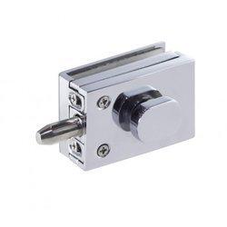 Overlay Glass Door Lock with Cylinder /  Satin