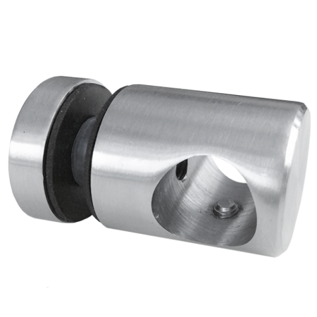 Flat Back Crossbar Holder for Ø16 pipe with Glass Point Fixing 25/M6/ AISI 304/ SATIN