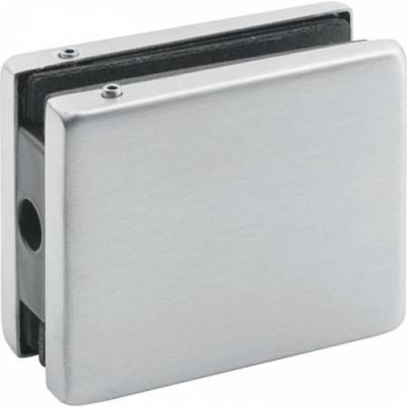 Frameless Overpanel Clamp with Upper Hinge Pin / Satin, Silver